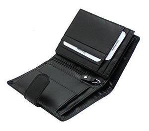 STARHIDE Genuine Leather RFID Shielded Blocking Extra Card Capacity Wallet 1085 (Black) - Starhide