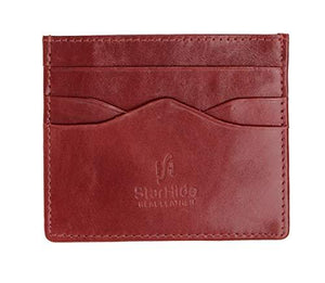 STARHIDE Mens Front Pocket VT Leather Minimalist Credit Card Holder 1215 Brown - Starhide