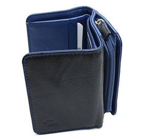 STARHIDE Ladies RFID Blocking Compact Genuine Leather Small Wallet With Zip Around Coin Pouch On The Side 5555 - Starhide