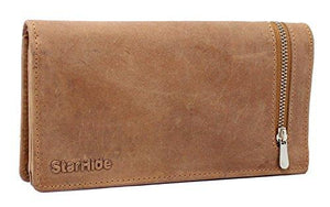 STARHIDE Womens RFID Shielded Real Distressed Hunter Leather Clutch Wallet 5565 (Brown) - Starhide
