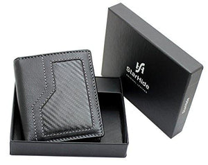 StarHide Men's Real Leather & Carbon Fiber Slim Wallet Comes With A Gift Box - 1175 - Starhide