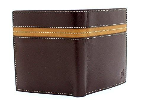 STARHIDE Mens Genuine Leather Large Capacity Travel Cardholder Wallet 1130 Brown Tan - Starhide