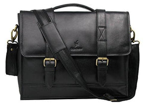 "STARHIDE 15.5"" Laptop Genuine VT Leather Top Handle Shoulder Messenger Travel Bag Adjustable Strap 525 Black - Starhide"