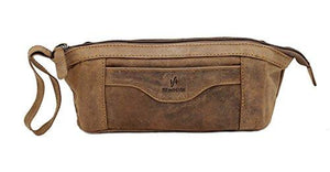 STARHIDE Genuine Distressed Hunter Leather Travel Stationery Pencil Case Makeup Cosmetic Zipper Pouch Bag 555 Brown - Starhide