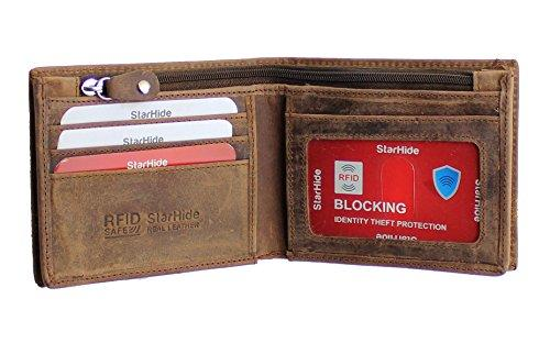 StarHide Mens Essentials Wallet RFID Safe Contactless Security Card Protection Distressed Hunter Leather Billfold Purse 1150 - Starhide