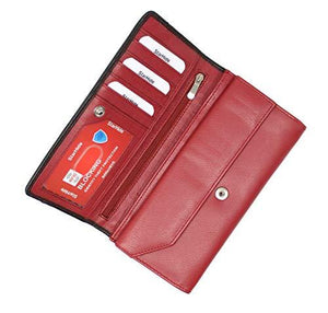 StarHide Women RFID Blocking Leather Flap Over Long Clutch Wallet Red Black 5560 - Starhide