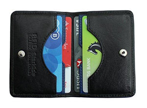 STARHIDE Mens Front Pocket RFID Blocking Minimalist Slim Leather Credit Cardholder Case 120 Black Blue - Starhide
