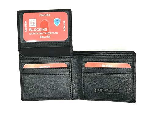 STARHIDE Mens RFID Blocking Genuine Soft Leather Flip Up ID Pocket Wallet 1165 Blue/Black - Starhide