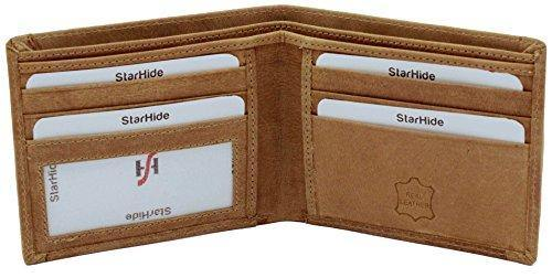 STARHIDE Slim Two Fold Leather and Canvas Wallet for Men 1214 Brown Tan - StarHide