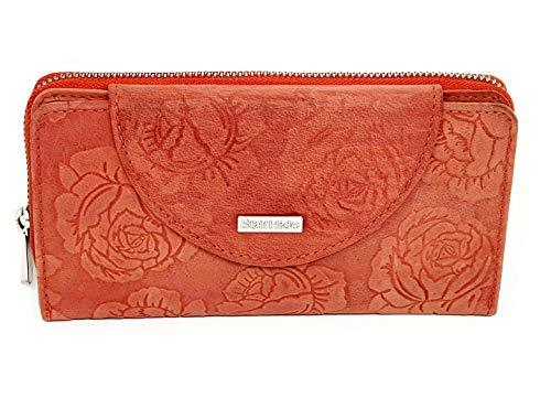 STARHIDE Womens RFID Blocking Embossed Floral Real Distressed Hunter Leather Purse 5570 (Red) - Starhide