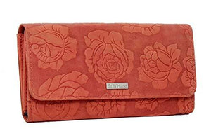 StarHide Womens RFID Protected Embossed Floral Purse Distressed Hunter Leather 5580 (Red) - Starhide
