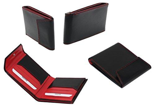 STARHIDE Mens RFID Blocking Genuine Goat Leather Wallet 620 (Black Red) - Starhide