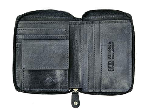 STARHIDE Mens RFID Blocking Full Zip Around Distressed Hunter Leather Coin Pocket Wallet 720 - Starhide