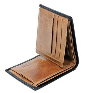 Starhide Mens Leather RFID Blocking Trifold Passcase Wallet Black Tan 1190 - Starhide
