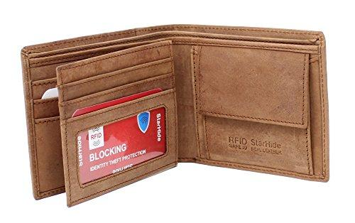 STARHIDE Genuine Distressed Hunter Leather RFID Blocking Coin Pocket Wallet For Men 1055 - Starhide
