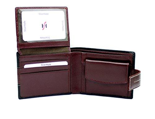 STARHIDE Mens RFID Blocking Soft Leather Bifold Wallet 1115 Black Brown - Starhide