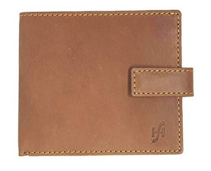 STARHIDE Mens RFID Blocking Genuine Distressed Hunter Leather Bifold Wallet 715 Brown - Starhide