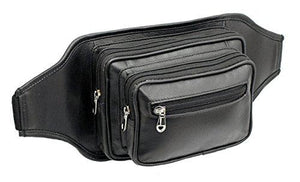 STARHIDE Large Genuine Leather Travel Money Belt Bum Bag Adjustable Waist Strap 510 Black - Starhide