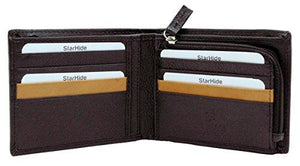 STARHIDE Mens RFID Blocking Soft Nappa Leather Zip Coin Pocket Bifold Wallet 110 - Starhide