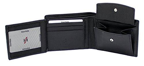 STARHIDE Mens RFID Blocking Trifold Calf Leather Coin Pocket Wallet 1217 Black - Starhide