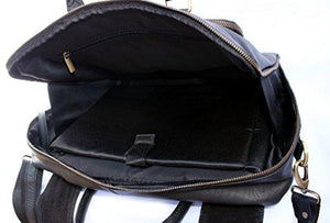 "STARHIDE 15"" Laptop Genuine Cow Nappa Leather Top Handle Shoulder Messenger Travel Bag Adjustable Strap 530 Black - Starhide"