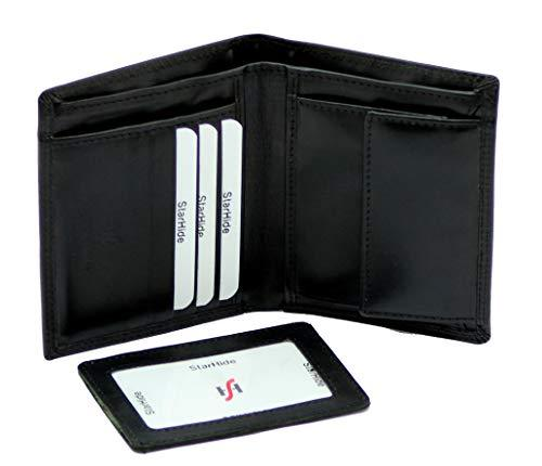 STARHIDE Mens RFID Blocking Genuine Leather Bifold Wallet with Removable ID Cardholder 1090 Black - Starhide