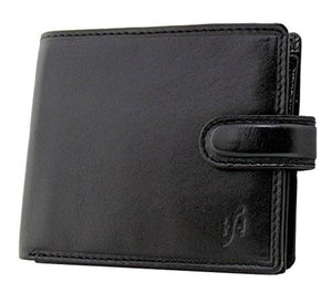 Starhide Essentials RFID Blocking Genuine Leather Billfold Wallets for Men with Zip Coin Pocket Gift Box 1100 (Black) - Starhide