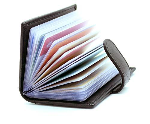 STARHIDE Soft Genuine Leather Compact Credit Debit Card Holder Case with Removable Plastic Sleeves 210 - Starhide