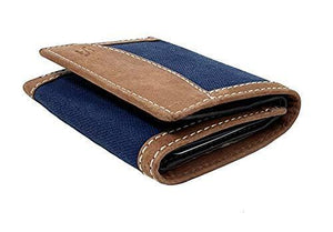 STARHIDE Mens RFID Blocking Trifold Distressed Hunter Leather and Canvas Wallet Credit Card Holder 805 Blue Brown