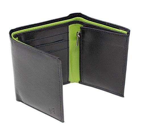 STARHIDE RFID Blocking Tall Genuine Goat Leather Trifold Zip Wallet Gift Boxed 615 (Black/Green) - Starhide