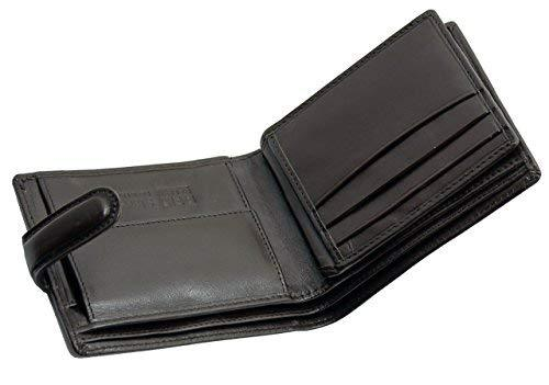 STARHIDE Gents RFID Blocking Smooth Genuine VT Leather Wallet With Coin Pocket and Id Window 1212 (Black) - Starhide