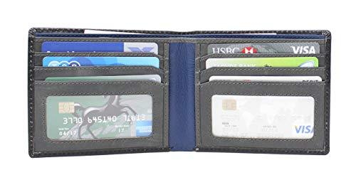 STARHIDE Mens RFID Blocking Bifold Genuine Leather Notecase Wallet 1160 Black Grey Blue - Starhide