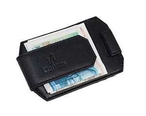 STARHIDE Mens RFID Blocking Nappa Leather Card Holder Wallet With Magnetic Money Clip 725 Black - Starhide