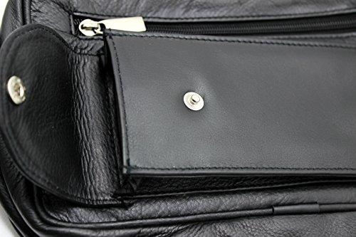 STARHIDE Mens Real Leather Multi Compartments Toiletry Overnight Wash Gym Shaving Bag with Grab Handle Strap Black 515 - Starhide