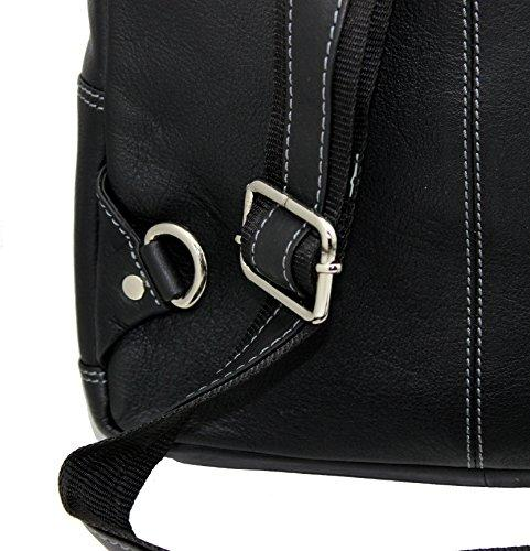STARHIDE Mens Womens Real Leather Sling Backpacks Shoulder Cross body Rucksack Travel Messenger Bag 540 Black - Starhide