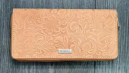 STARHIDE Ladies Womens RFID Blocking Purse Full Zip Around Embossed Floral Genuine Distressed Hunter Leather Clutch Wallet (Brown) 5590 - Starhide