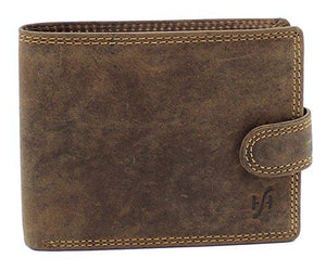 STARHIDE Mens RFID Blocking Distressed Hunter Leather Notecase Wallet Coins and Id Card Holder 710 Brown - Starhide