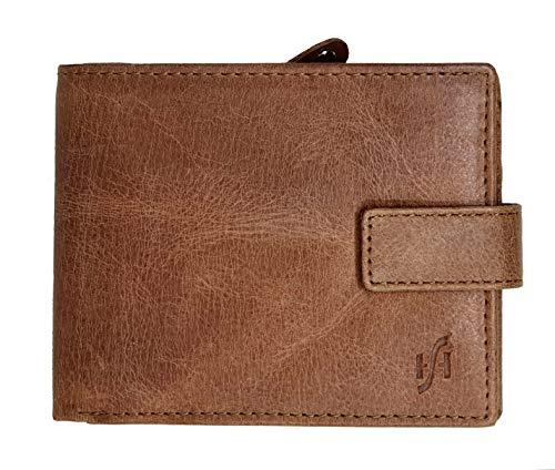 STARHIDE Genuine Distressed Leather RFID Blocking Wallet With Zipped Coin Pocket On The Side 1180 Tan - Starhide