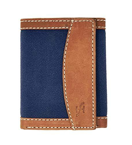 STARHIDE Mens RFID Blocking Trifold Distressed Hunter Leather and Canvas Wallet Credit Card Holder 805 Blue Brown - Starhide