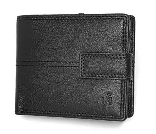 STARHIDE Mens RFID Blocking Nappa Leather Bifold Wallet with A Side Zipped Coin Pocket 1044 (Black) - Starhide