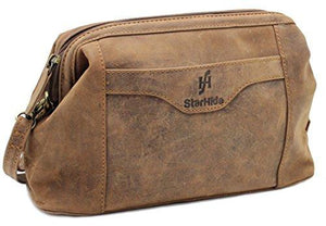 STARHIDE Top Framed Zipped Genuine Distressed Hunter Leather Hanging Toiletry Wash Shaving Cosmetic Bag 550 Brown - Starhide