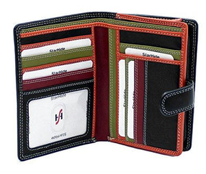 STARHIDE Womens RFID Blocking Compact Soft Leather Multi Coloured Purse with Zip Around Coin Pouch 5535 - Starhide