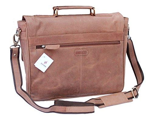 "STARHIDE 15.5"" Laptop Genuine Distressed Hunter Leather Top Handle Shoulder Messenger Travel Bag Adjustable Strap 535 Brown - Starhide"