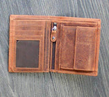 STARHIDE RFID Blocking Genuine Distressed Hunter Leather Billfold Coin Wallet For Men 1070 Brown - StarHide