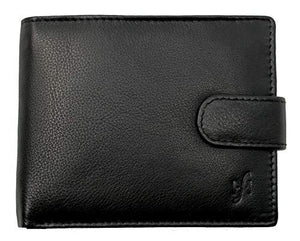 STARHIDE Mens RFID Blocking Classic Bifold Coin Pocket Leather Wallet with Gift Box 1110 Black - Starhide