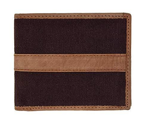 STARHIDE Slim Two Fold Leather and Canvas Wallet for Men 1214 Brown Tan