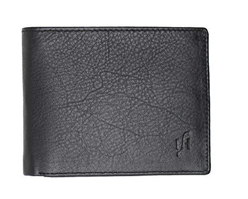 STARHIDE Mens RFID Blocking Small Bifold Leather Wallet for Cards Cash and Coins 1050 Black Grey - Starhide