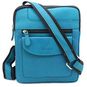 STARHIDE Mens Womens Distressed Hunter Genuine Leather Travel Messenger Bag For Ipad Tablet 505 (Turquoise) - Starhide