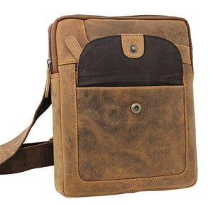 STARHIDE Mens Womens Distressed Hunter Genuine Leather Travel Messenger Bag For Ipad Tablet 505 (Brown) - Starhide
