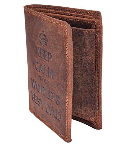 STARHIDE Keep Calm I'm The Worlds Best Dad Mens RFID Blocking Genuine Distressed Hunter Leather Wallet 705 Brown - Starhide